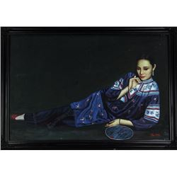 Chinese Oil Painting (Girl) on Canvas