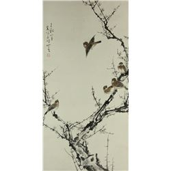 WC Bird &Tree Painting Scroll Gao Qifeng 1889-1933