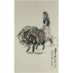 Chinese WC Painting Scroll Huang Zhou 1925-1997