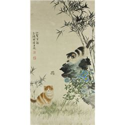 Chinese WC Cat Painting Scroll Wang Xuetao 1903-82