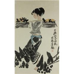 Chinese WC Girl Scroll Zhou Sicong 1939-1996