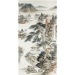 WC Landscape Scroll Painting Tang Yun 1910-1993