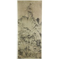 WC Landscape Scroll Painting Jian Jiang 1610-1664