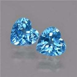 Natural Swiss Blue Topaz Heart Pair 8.24 carats - AAA