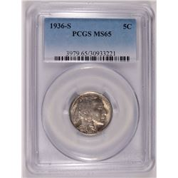 1936-S BUFFALO NICKEL PCGS MS-65