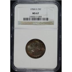 1958-D WASHINGTON QUARTER NGC MS 67 GORGEOUS TONING!!!