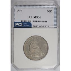 1875 SEATED HALF DOLLAR, PCI CHOICE BU