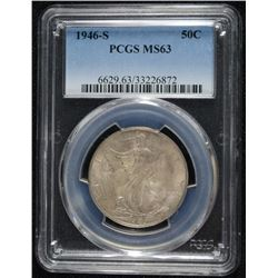 1946-S WALKING LIBERTY HALF DOLLAR, PCGS MS-63