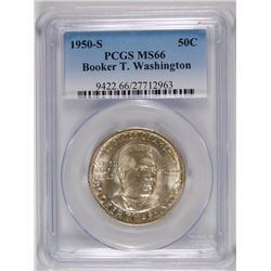 1950-S BOOKER T WASHINGTON PCGS MS66 PCGS PRICE GUIDE $150