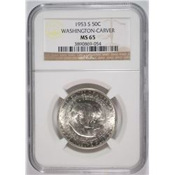 1953-S WASHINGTON CARVER HALF DOLLAR, NGC MS-65
