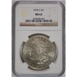 1878-S MORGAN SILVER DOLLAR, NGC MS-63