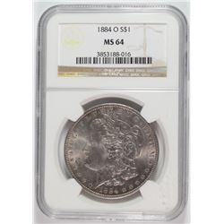 1884-O MORGAN SILVER DOLLAR, NGC MS-64
