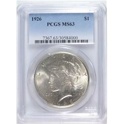 1926 PEACE SILVER DOLLAR, PCGS MS-63 WHITE!