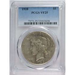 1928 PEACE DOLLAR PCGS VF 25