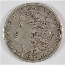 1892-S MORGAN DOLLAR XF  MARK ON FACE AT 3:00
