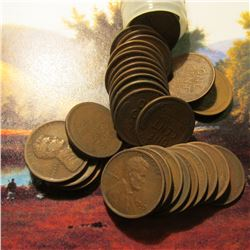 Roll of 50 Circulated 1919 San Francisco Mint Lincoln Cents. Many of the pieces grade up to Fine.