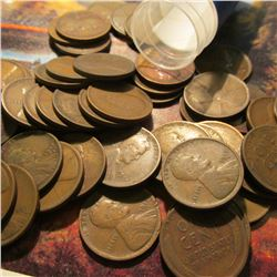 Roll of 51 Circulated 1917 Denver Mint Lincoln Cents. Many of the pieces grade up to Fine.