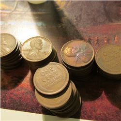 Roll of 49 Circulated 1929 Denver Mint Lincoln Cents in a plastic coin tube. Many grade VF or better