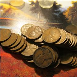Roll of 50 Circulated 1930 Philadelphia Mint Lincoln Cents. Many of the pieces grade up to Fine.