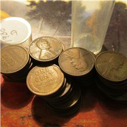 Roll of 49 Circulated 1930 Denver Mint Lincoln Cents in a plastic coin tube. Many grade VF or better