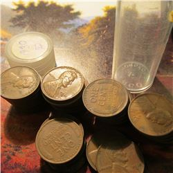 Roll of 48 Circulated 1930 Denver Mint Lincoln Cents in a plastic coin tube. Many grade VF or better