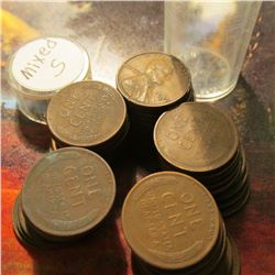 Roll of (50) Circulated Mixed San Francisco Mint Lincoln Cents in a plastic coin tube. Many grade VF