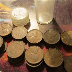 Roll of (47) Circulated Mixed San Francisco Mint Lincoln Cents in a plastic coin tube. Many grade VF