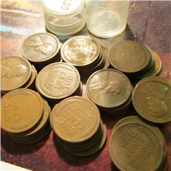 Roll of 50 Circulated 1920 Philadelphia Mint Lincoln Cents. Many of the pieces grade up to Fine.