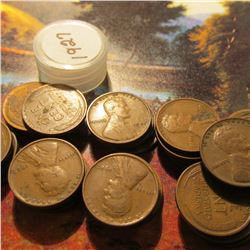 Roll of 49 Circulated 1927 Philadelphia Mint Lincoln Cents. Many of the pieces grade up to Fine.