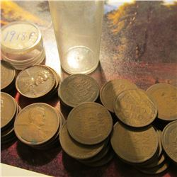 """Roll of (50) 1918 P & (2) 48 P Lincoln """"Wheat"""" Cents. Some of the pieces grade up to Fine."""