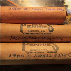 (3) Rolls of 1960 D Small Date Lincolns Cents in paper wrappers, various grades.
