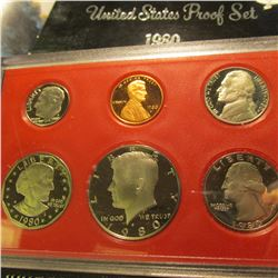 1980 S U.S. Proof Set with Susan B. Anthony Dollar. Original as issued.