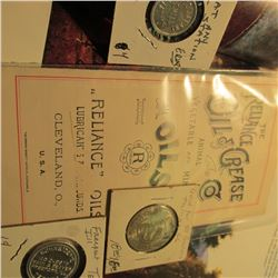 """Brochure """"The Reliance Oil & Grease Co. Animal Vegetable and Mineral Oils"""", & (3) Different Gas Comp"""