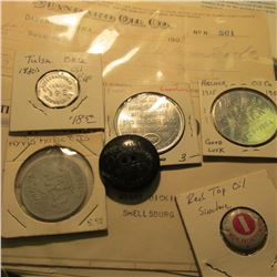 "(4) Oil Company Token, Several Oil Co. Invoices dating back to 1908; a ""Red Top Oil"" Company Pin-bac"