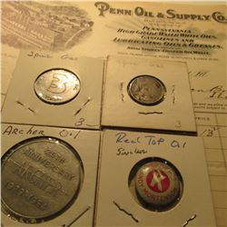 "1900 Invoice ""Penn Oil & Supply Co.""; (3) Different Gas Company Tokens, &  a ""Red Top Oil"" Company P"