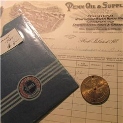 "Early ""Penn Oil & Supply Co."" Invoice; ""Standard Oil Co."" Registration Envelope; & a Captain Midnigh"