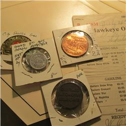 "(4) ""DX"" Oil Company decals; several receipts from ""The Hawkeye Oil Co."" dating 1912-16; ""Hy-Vis"" Mo"