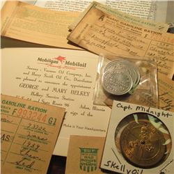 "Group of World War II Gas ration Coupons; ""Captain Midnight"" Membership Medal; Mobiloil Socony - Vac"