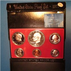 1977 S U.S. Proof Set with Eisenhower Dollar in original plastic case and box of issue