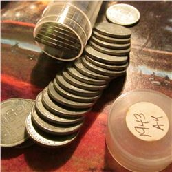 Roll of 1943 World War II era U.S. Steel Cents in a plastic tube. Most are EF-AU.