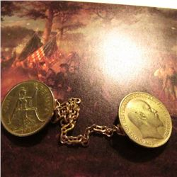 Gold-plated Great Britain Large Cent Vest Fastener with Chain. 1909 & 1947 Large Pennies.