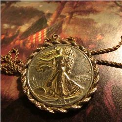 4.43 gram 14K Gold Rope necklace with a Gold-highlighted 1942 D Walking Liberty Half-Dollar in a rop