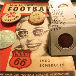 """How to Watch Football Phillips 66 1952 Schedules; ""Ask Me I Live Here"" Pin-back; ""Potosi Brewing Co"