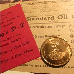"1917 ""Standard Oil Invoice""; ""Jerry's D-X"" Red Chip card; & a Souvenir of Hawaii 1847 One Cent, BU."