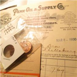 "1900 ""Penn Oil & Supply Co."" Invoice; ""Gulf Tourgide Bureau"" Advertsing Post card; 1944S, 47S, 54S,"