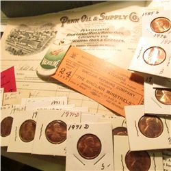 Several pieces of early Oil Company Memorabilia & a group of (27) mostly Uncirculated Lincoln Cents