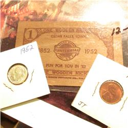 1852-1952 Cedar Falls, Iowa rectangular Wooden Nickel; 1952 D Lincoln Cent, Gem Red BU; & 1952 P Roo