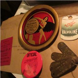 "1931 Envelope, manilla-colored; ""Jerry's D-X"" Red Chip; ""Valvoline"" Oil change card; Coaster ""A Souv"