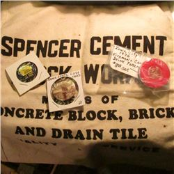 "Cloth Money Bag ""Spencer Cement Block Works Makers of Concrete Block, Brick, and Drain Tile Quality"