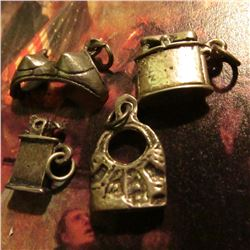 4 piece Group of Sterling Silver Charms: (2) different style Cigarette Lighters; Padlock, & a Bra???
